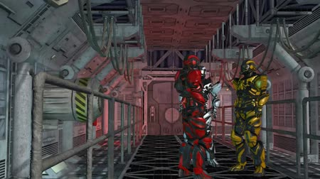 trave : Future Soldier - Space Trooper - Spaceship Corridor - Video Background Stock Footage
