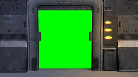 Spaceship Spacestation Door open Close with green screen Stock Footage