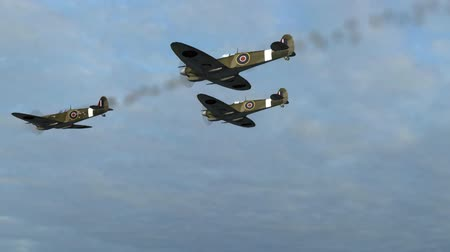 авиашоу : Spitfire Supermarine WWII Airplane flying by in Formation
