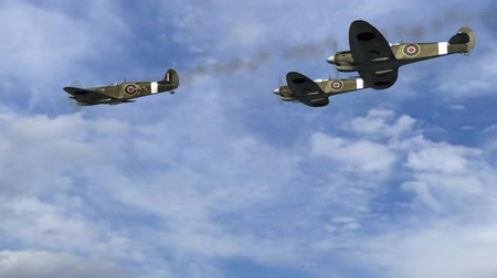 letadlo : Spitfire Supermarine WWII Airplane flying by in Formation