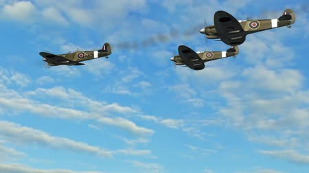 истребитель : Spitfire Supermarine WWII Airplane flying by in Formation