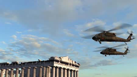 pilótafülke : Black Hawk Helicopter fly over Acropolis of Athens