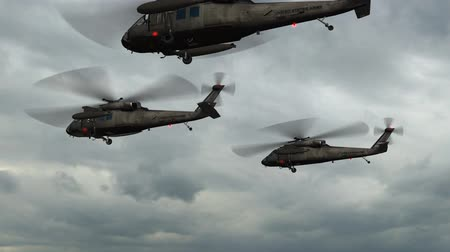 donanma : Black Hawk Helicopter fly over in stormclouds and lightning