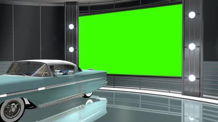 ayarlamak : virtual studio background with green screen wall and classic car
