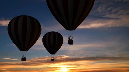 воздух : Hot Air Balloons Beautiful Silhouette in the sunset