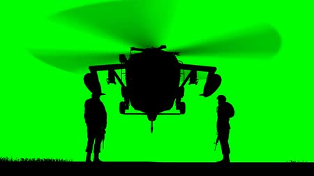 asker : Black Hawk Helicopter Rising on greenscreen Stok Video