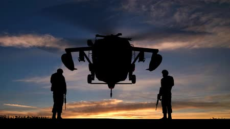 copter : Black Hawk Helicopter Rising In The Sunset