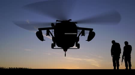 soldados : Black Hawk Helicopter Rising In The Sunset