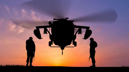 katonák : Black Hawk Helicopter Rising In The Sunset