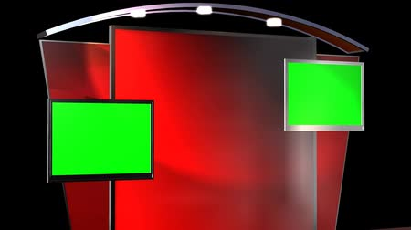 набор : Virtual Studio Background with animated Green Screen TV