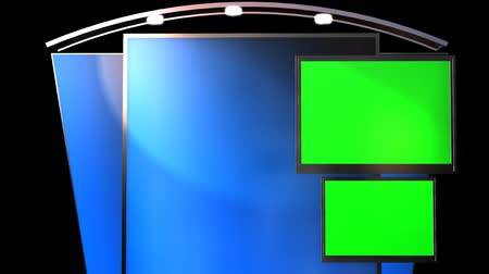 tv screen : Virtual Studio Background with animated Green Screen TV