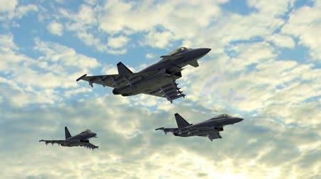 истребитель : Eurofighter Fighter Jets with Missiles fly in Formation