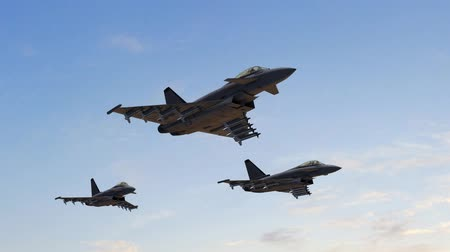 lutador : Eurofighter Fighter Jets with Missiles fly in Formation