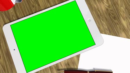android : Tablet PC Pad Green Screen for Advertisement Presentation Stock Footage