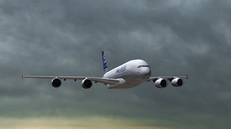 hava otobüsü : Airbus A-380 in flight - closeups tracking shot Stok Video