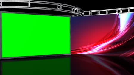 estúdio : Virtual Studio Background with green screen Wall