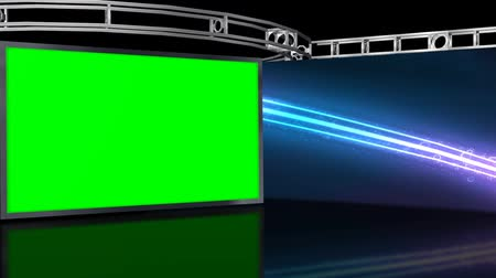 broadcast video : Virtual Studio Background with green screen Wall