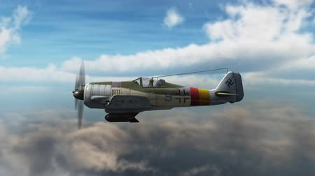 letadlo : WW2 Focke-Wulf FW 190 Airplane in fly - close up - 4k