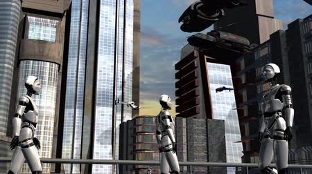 sciencefiction : Space City - futuristische stad met ruimteschepen Stockvideo