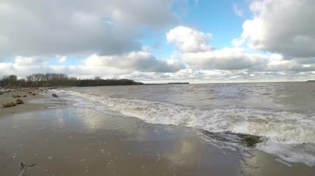 Baltic sea waves at the beach in autumn after a storm