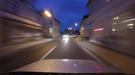 Night driving car - time lapse driving in a city in germany