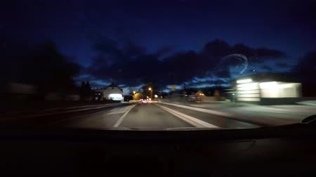 Time-lapse POV shot of a car driving at night on a road in germany Stock Footage
