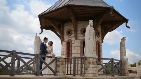 apaixonado : beautiful wedding couple look at each other near the stone magnificent castle with statues