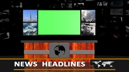 zöld : news headlines studio background - green screen effect