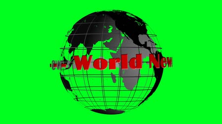 news tv : World news lettering and globe rotating