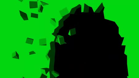 rachado : different wall - surfaces holes - green screen Stock Footage
