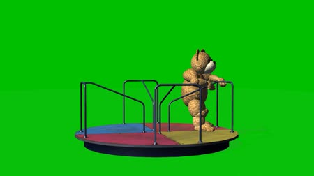 goes : cartoon teddy bear moves carousel - green screen