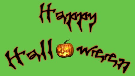 dynia : Happy Halloween text animation - green black screen Wideo