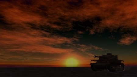 war tank : military tank drives past on sunset background