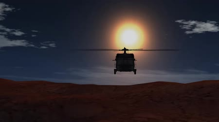 copter : helicopter flies on sunset background Stock Footage