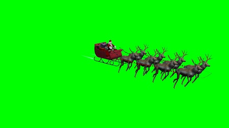 santa : Santa Claus with animated reindeers -4 different views