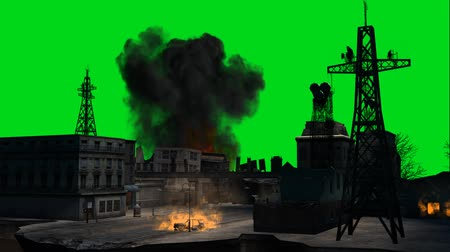 elpusztított : stage combat city  explosion on green screen