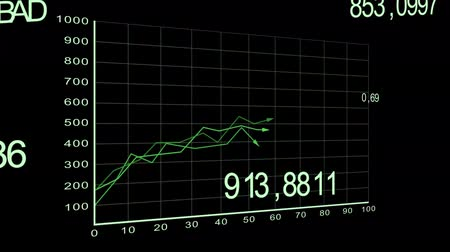graphic arts : growing charts animation on black BG - green