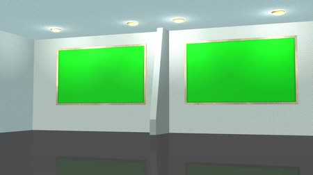 television set : virtual studio background - green screen effect Stock Footage