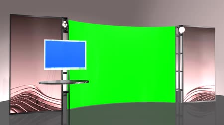 em branco : virtual studio background - green blue screen effect Vídeos