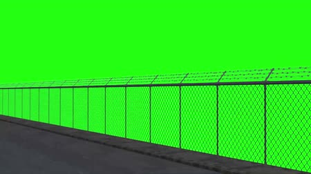 кемпинг : ride along the security fence - green screen