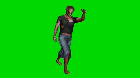 possessed : zombie goes - green screen Stock Footage