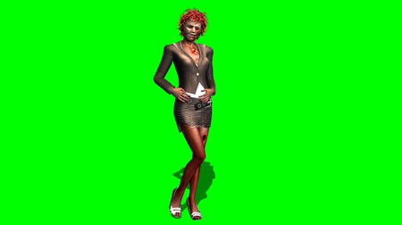 possessed : zombie woman the posing dead - green screen Stock Footage