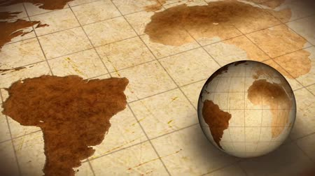 duvar kağıdı : Vintage Rotating Globe And Map Of The World Background Stok Video