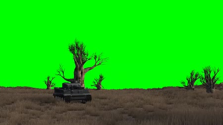 турель : tank drives past - green screen