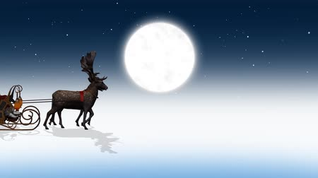 deer : santa claus with sleigh and reindeer passes by, additionally on green screen