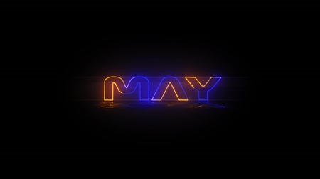 азбука : Months of the year - May - Neon Text animation on black screen Стоковые видеозаписи