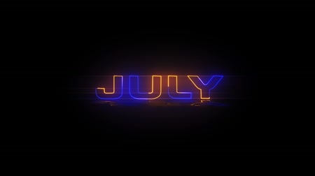 азбука : Months of the year - July - Neon Text animation on black screen Стоковые видеозаписи