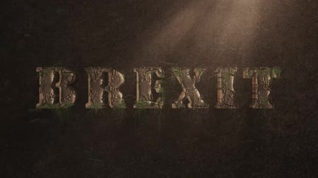 rampart : BREXIT text decay with cracks and growing moss and grass