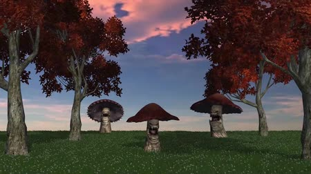 angry big brown mushrooms appear and die - blue sky video screen Stock mozgókép