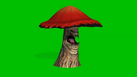 appear : angry big red mushroom appears and dies - green screen